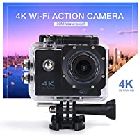 QTEC Sport Action Camera 4K WiFi 16MP 30M Waterproof Sports Camcorder 170° Wide Angle Lens with full Accessories for Riding, Diving, Surfing, Swimming, Parachute, Ski, Motorcycle and Water Sports