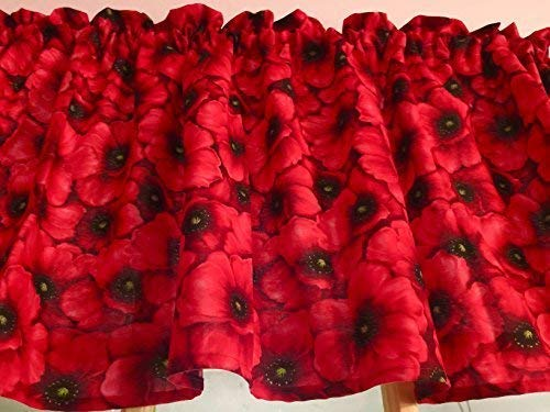 Valance Topper Love Red Poppies Poppy Flowers Cotton Window Curtain Valance handmade 42W x 15L FABRIC