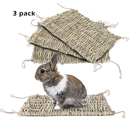 Natural Seagrass Mat Handmade Woven Mat, Safe & Edible for Hamsters, Rabbits, Parrot Guinea Pig and Ferret Chew Mat Toy Bed (3Pack)15.711in