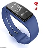 Fitness Tracker Touch Screen Watch Sports Pedometer Sleep Monitoring IP67 Waterproof Dynamic Heart Rate Blood Lipid Monitoring Smart Bracelet,Blue