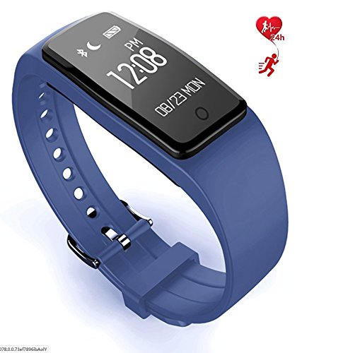 Fitness Tracker Touch Screen Watch Sports Pedometer Sleep Monitoring IP67 Waterproof Dynamic Heart Rate Blood Lipid Monitoring Smart Bracelet,Blue by LJXAN