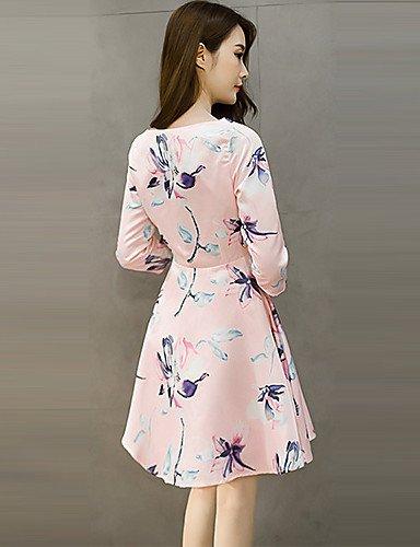 PU&PU Robe Aux femmes Gaine Vintage,Imprimé Col Arrondi Mi-long Polyester , green-2xl , green-2xl