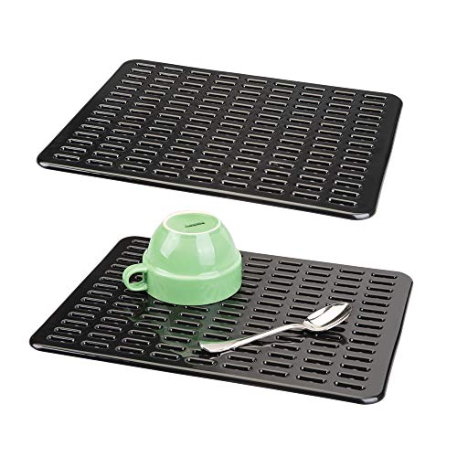 mDesign Modern Kitchen Sink Dish Drying Mat/Grid - Quick Draining Design, Multiple Drain Holes - Soft Plastic Pad Protects and Cushions Sinks, Stemware, Wine Glasses, Dishes - Pack of 2, Large, Black by mDesign