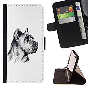 Momo Phone Case / Flip Funda de Cuero Case Cover - Alemán Arte del perro del mastín Blanco Negro; - Apple Iphone 5 / 5S