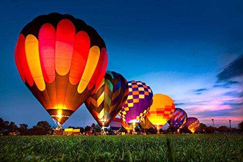 Hot Air Balloons Glowing at Night Photo Photograph Cool Wall Decor Art Print Poster 36x24