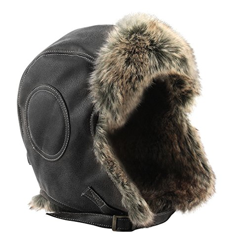 GLOBAL VASION Winter Hat Fur Leather Trapper Pilot Aviator Hat with Ear Flap Chin Strap for Men and Women (Eskimo Faux Fur)