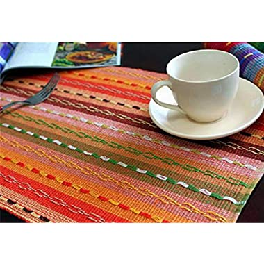 Ivenf Set of 6 100% Handmade Woven Braided Ribbed Cotton Table Placemats Rainbow Orange 12  x 18