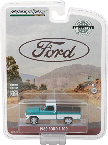 Greenlight 29924 1969 Ford F-100 Pickup Truck Turquoise with Bed Cover Hobby Exclusive 1/64 Diecast Model Car - F100 Pickup