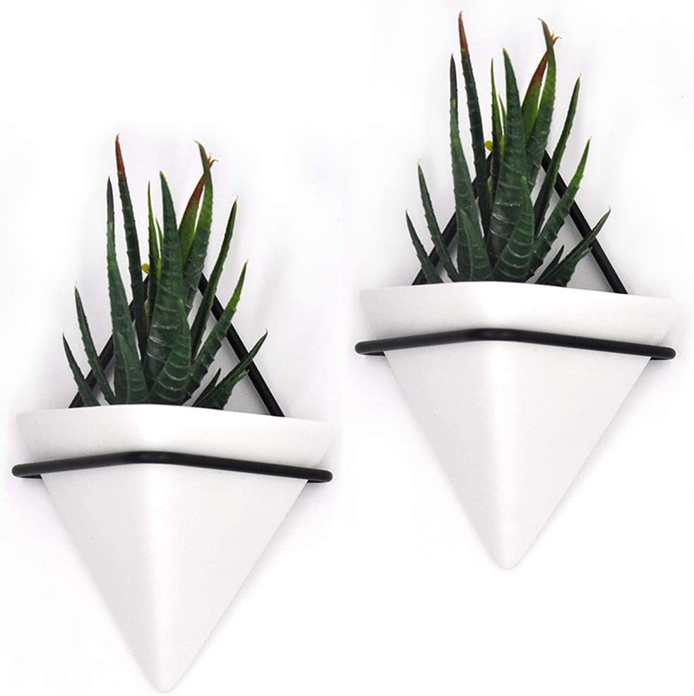 PUDDING CABIN Set of 2 - Small Wall Hanging Planters, 4Inch Geometric Wall Planters Wall Decor Hanging Succulents Pots Plant Hanger Wall Succulent Planter for Succulents Air Plants, Housewarming Gift