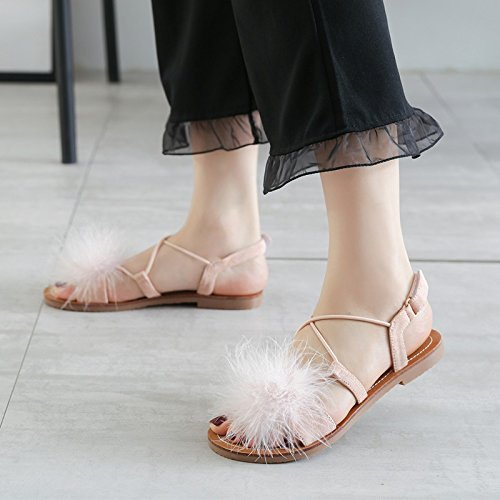 Fairy Flat Red Student Ladies' Summer JUWOJIA New Sandals Bottomed Hair Sandals Toes Pink Sandals Shoes 8YznqdFw7