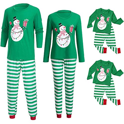 Franterd Holiday Christmas Pajamas Set Mommy Daddy & Me Green Xmas Snowman Print Blouse + Strip Pants for Couples and Kids -