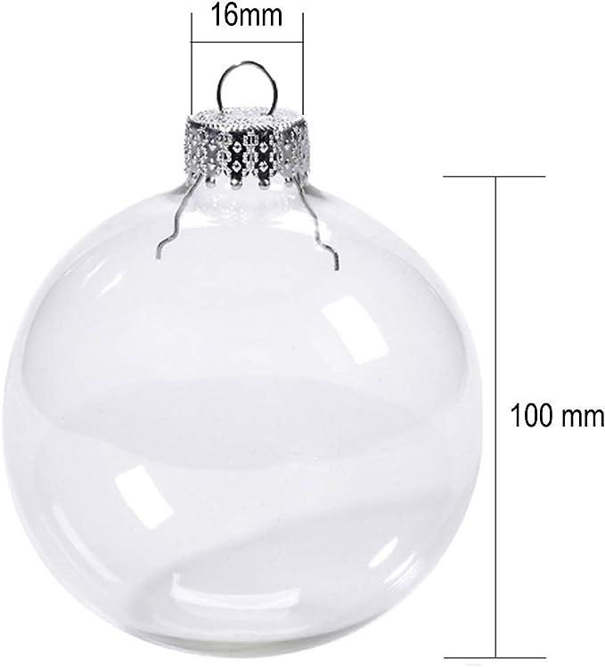 Glasburg 100mm Clear Glass Ball Christmas Ornaments Set Of 4