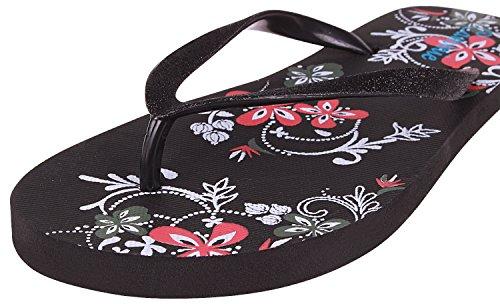Enimay Mujeres Casual Classic Summer Beach Pool Vacaciones Flip Flop Sandalias Negro 1