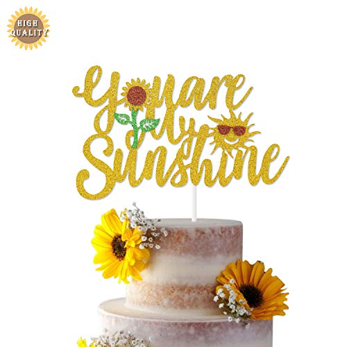 You Are My Sunshine Cake Topper Sun Themed Party Decorations for Baby Shower Kid's Birthday Wedding Supplies(Double-sided)
