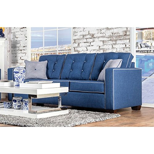 Furniture of America Tayson Tufted Linen Sofa in Blue