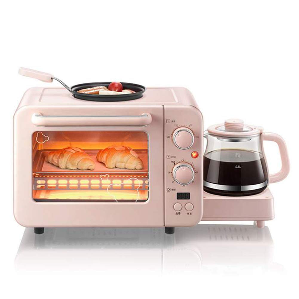 JINJN Retro Breakfast Center Mini Toaster Oven Pink 3-in-1 Family Size Breakfast Station, Griddle and Multi Cup Coffee Maker