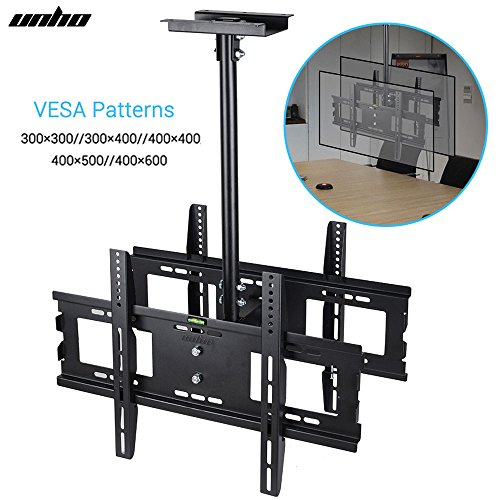 Dual Lcd Ceiling Mount (UNHO Dual Screen Rotating and Tilting Ceiling TV Mount for Double LCD LED Monitor for Samsung, Sony, LG, Sharp,Vizio, Haier, Toshiba, Sharp 32, 40, 42, 48, 50, 55, 60, 65, 70, 75 Inch TVs)