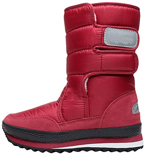 Womens Mid High Snow Boot, Winter Warm Faux Suede Fur Casual Fashion Laarzen Rood