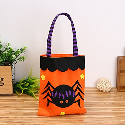 OOPP Halloween kids Candy Bag Packaging,Cute Trick or Treat Candy Storage Tote Bag With Handle,Children Party Storage Packaging Gift Bag for Halloween Costume Kids Dressing Up Party ( Spider (Dressing Up Costumes Childrens)