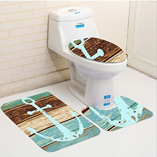 Keshia Dwete three-piece toilet seat pad customNautical Anchor Rustic Wooden Planks Marine Maritime Sea Ocean Coastal Antiqued Aged Digital Print Fashion Art Work for Teal Khaki Brown