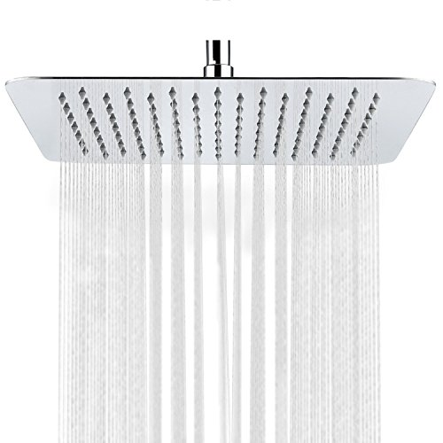 HIMARK Showerhead Rainfall High Pressure 12 inch Stainless Steel Shower Head with Polish Chrome Finish, Ultra Thin Waterfall Full Body Coverage with Silicone Nozzle Easy to Clean and Install (Gloss Polish Spa)