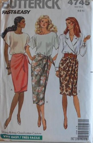 Butterick 4745 Womens Wrap Skirt Vintage Sewing Pattern Size 6 8