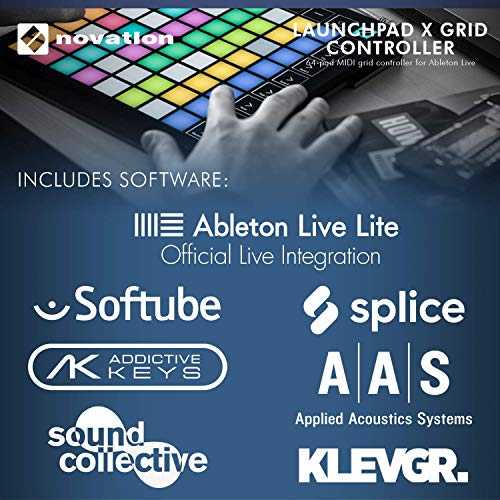 Novation Launchpad X Ableton Live 8x8 64 Backlit RGB Pads Grid Controller w/Software Bundle + SR360 Over-Ear Dynamic Stereo Headphones & Fibertique Microfiber Cleaning Cloth