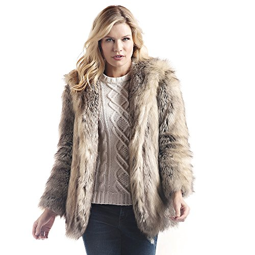 New Donna Salyers Fabulous Furs Hooded Faux Fur Jacket