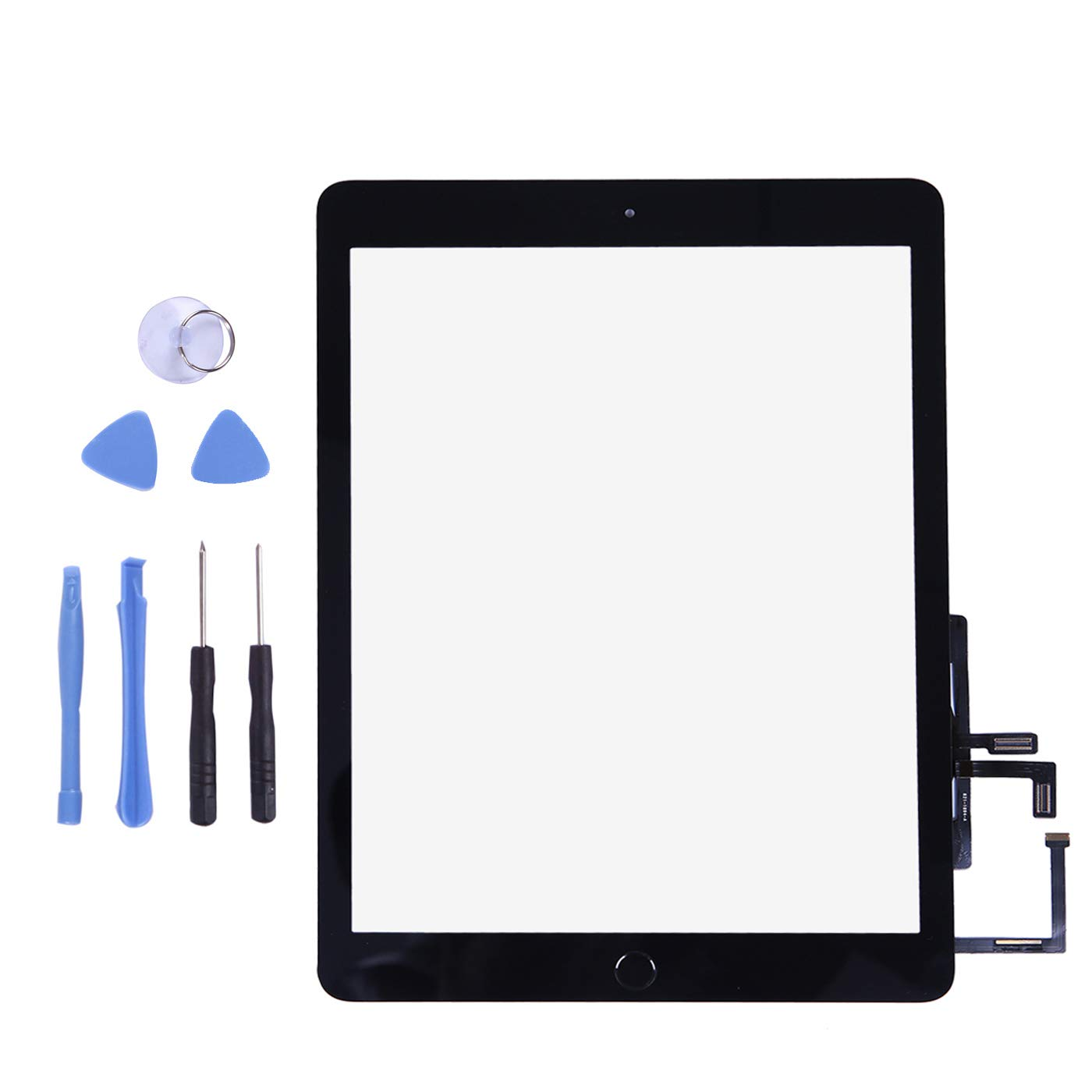 Touch Screen Digitizer for 2017 iPad 9.7 A1822, A1823 - Black Front Glass Replacement with Home Button /& Tool Repair Kit