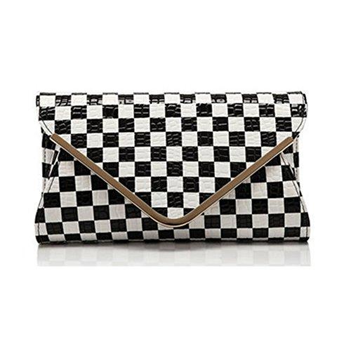 HT Evening Bag - Cartera de mano para mujer Black and White Plaid