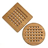 """Lipper International 8821-2 Bamboo Trivets, Set of 2, One Square/One Round, 7-3/4"""""""