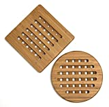 Lipper International 8821-2 Bamboo Wood Trivets, Set of 2, One Square/One Round, 7-3/4''