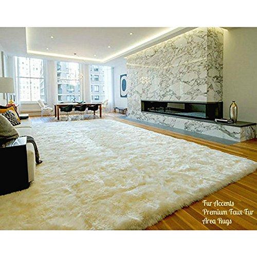 Plush Faux Fur Area Rug - Shaggy Thick Sheepskin - Rectangle Shape Pelt Design - Throw 6 Colors Designer Art Rug by Fur Accents USA