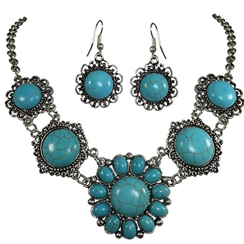 Simulated Turquoise Silver Tone Western Southwestern Look Necklace & Dangle Earring Set (Flower)
