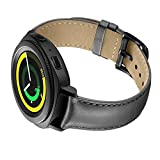 Balerion smartwatch band for Gear Sport/vívomove HR, Genuine Leather Strap Replacement Watch band Bracelet for samsung gear sport-B Grey