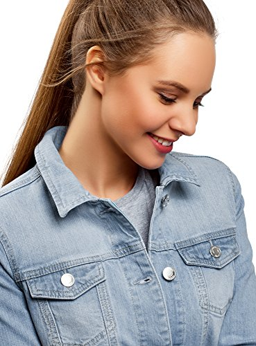 Femme Basique Ultra Veste Jean Bleu en oodji 7000w tB5wzvqqT
