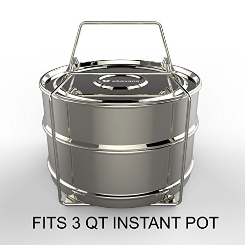 ekovana 3qt Mini Stackable Stainless Steel Pressure Cooker Steamer Insert Pans with sling handle - compatible with Instant Pot Accessories 3 quart - two interchangeable lids