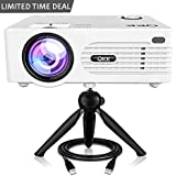 "QKK [2019 Upgrade] Mini Projector [with Tripod] LED Projector Full HD 1080P Supported, 170"" Display for TV Stick, PS4, Xbox, Blue Ray DVD Player, Smartphone Home Theater Entertainment, Dual USB Port"