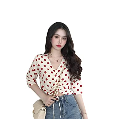 876900470c6 CrazyTiger Women s Casual Polka Dot Half Short Sleeve V Neck Drawstring  Lace Crop Top T-Shirt Sweatshirt Tops at Amazon Women s Clothing store