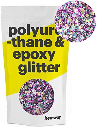 Glitter Disc - Hemway | Mixed Chunky Polyurethane & Epoxy Glitter - Purple Turquoise Black with Gold Silver Disc Mix / 100g
