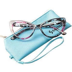 SOOLALA Womens Oversized Fashion Cat Eye Eyeglasses Frame Large Reading Glasses, Floral, +0.5D