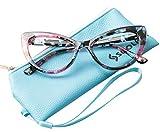 SOOLALA Womens Oversized Fashion Cat Eye Eyeglasses Frame Large Reading Glasses, Floral, 3.0D