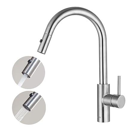 Essentials 360° Drehbar Armatur Küche Wasserhahn 2 Funktionen Für Spüle  Mischbatterie Mit Ausziehbarem Brause Einhandmischer Küchenarmatur:  Amazon.de: ...