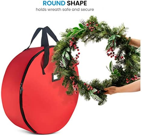 "ZOBER Premium Christmas Wreath Storage Bag 24"" - Dual-Zippered Storage Container & Durable Handles, Protect Artificial Wreaths - Holiday Xmas Bag Made of Tear-Proof 600D Oxford - 5-Year Warranty"