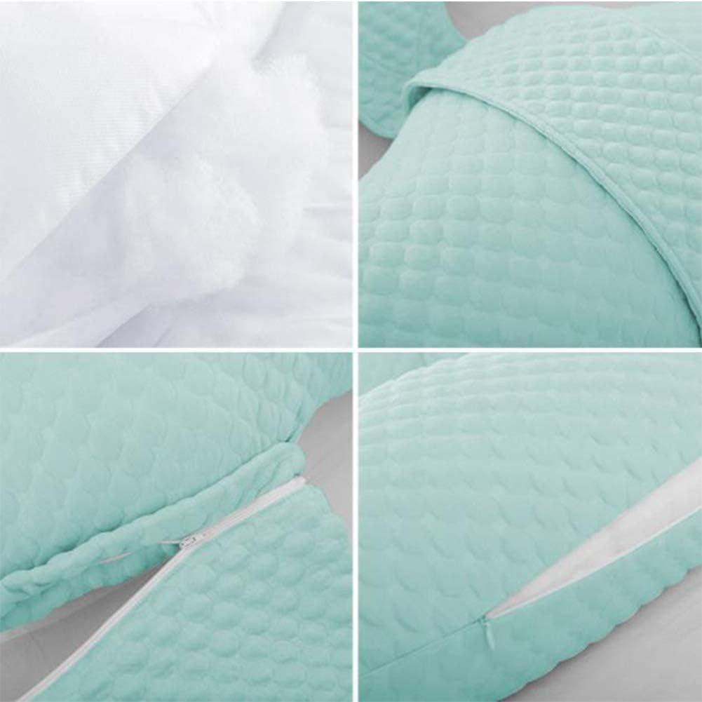 ZF Coussin d'oreiller Multifonctionnel en Forme de H de grossesseOreiller pour Femme enceinteoreiller de Taille, Oreiller de Couchage latéralsoutien de l'abdomen,Green Green