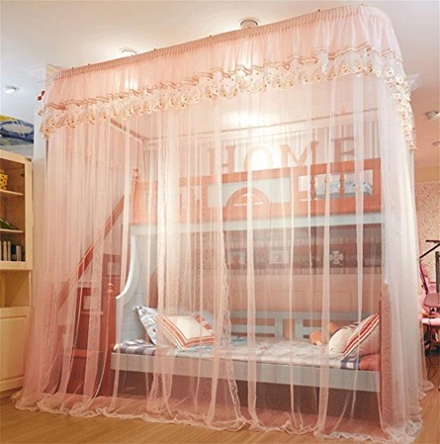 HR, mosquitera con doble guía de acero inoxidable para cama doble para niños 250 × 150 × 265 cm, rosa oscuro