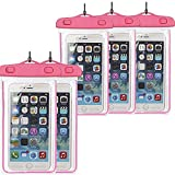 5Pack Pink Waterproof Case, CaseHQ Clear Universal Waterproof Case, Dry Bag, Pouch, Transparent Snowproof Dirtproof for iPhone 6 6S Plus SE 5S 5C, Samsung Galaxy S7 S6 edge, Note 5 4 3 2