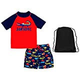 Kiko & Max Boys Jawsome Swim Outfit Swim Shirt Beach Shorts and Bag 12 Months Red