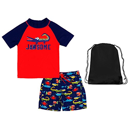 Kiko & Max Boys Jawsome Swim Outfit Swim Shirt Swim Shorts and Bag 18 Months Red