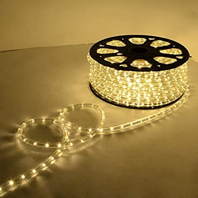150 Ft Warm White LED Rope Light Flexible Home Outdoor Indoor Festival Lighting Decoration